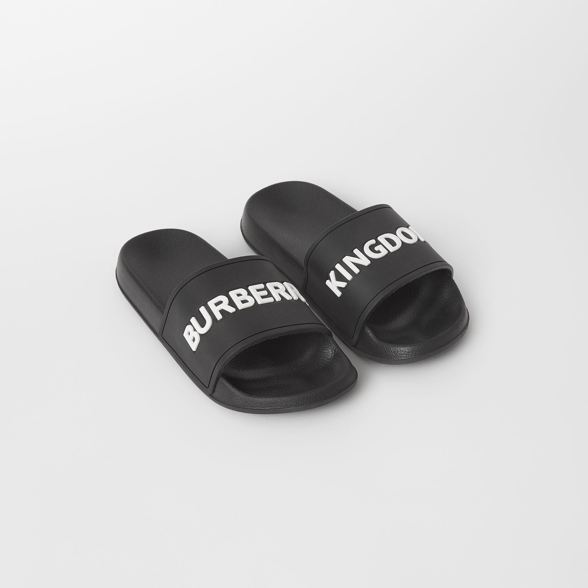 Kingdom Motif Slides in Black/optic White - Children | Burberry - gallery image 0