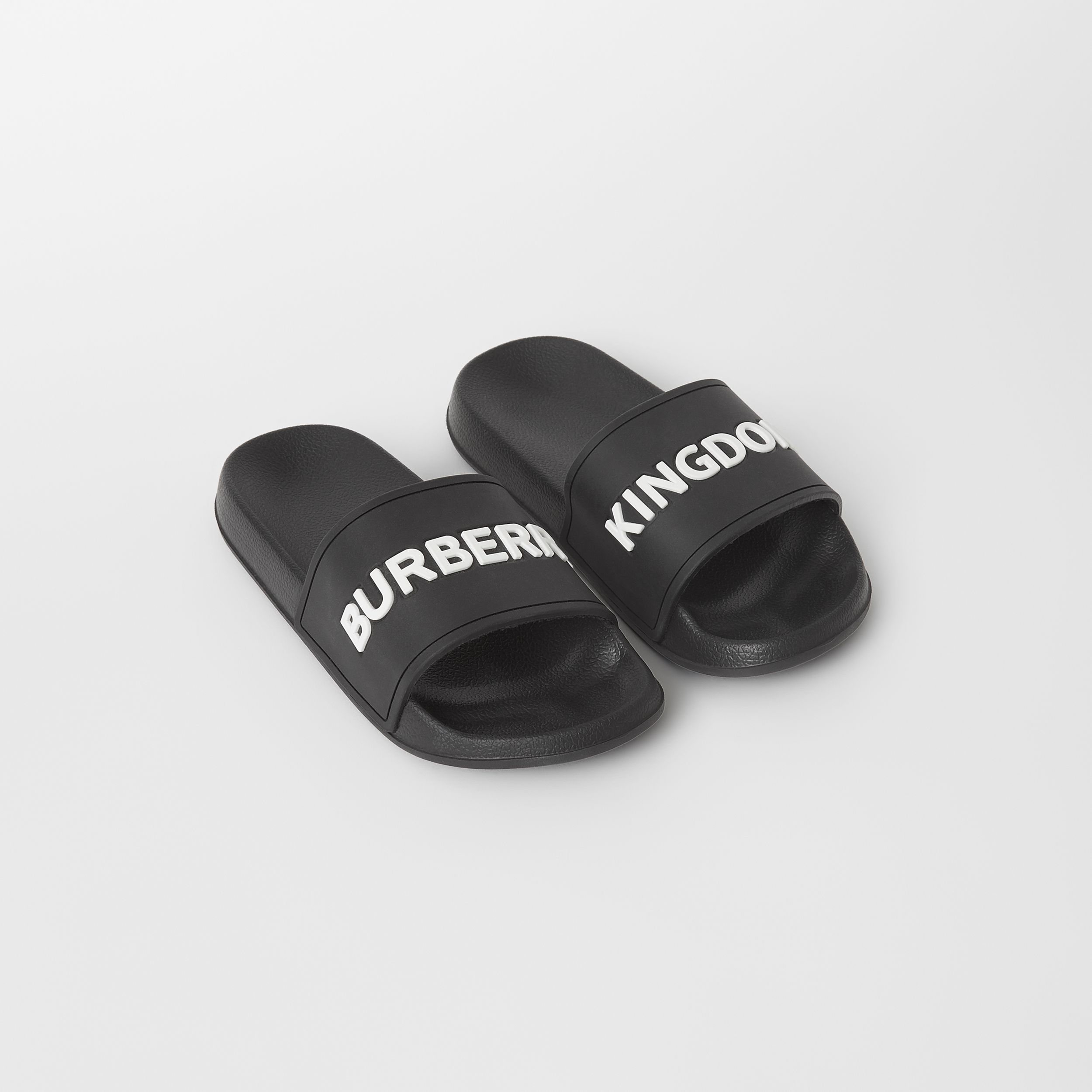 Kingdom Motif Slides in Black/optic White | Burberry - 1