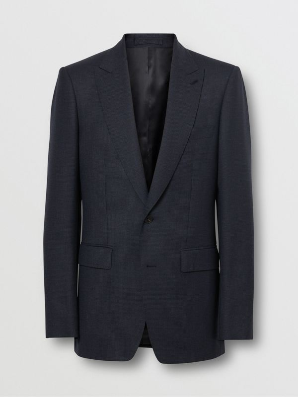 English Fit Puppytooth Check Wool Suit in Dark Navy - Men | Burberry - cell image 3