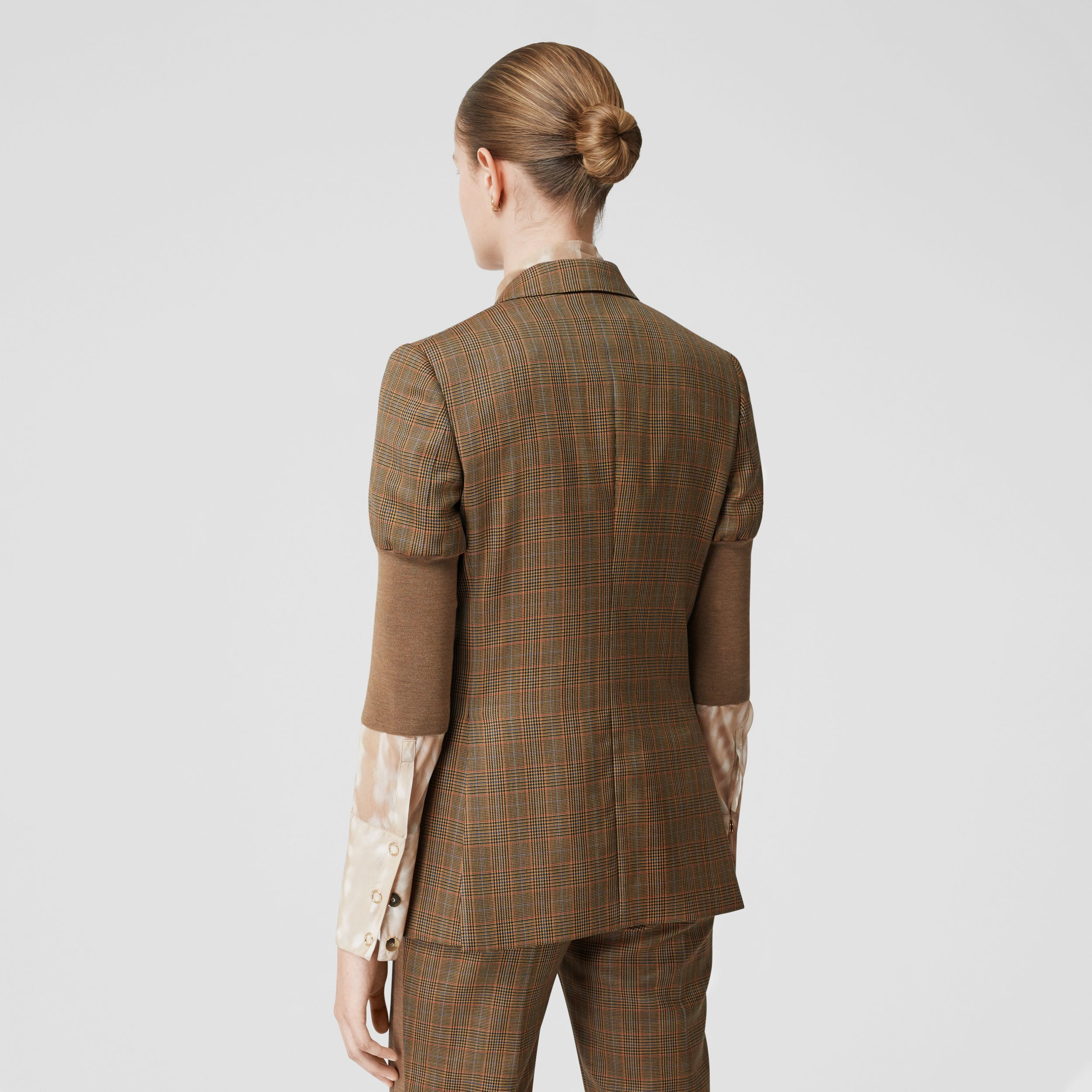 Knitted Sleeve Houndstooth Check Wool Tailored Jacket in Fawn - Women | Burberry - 3