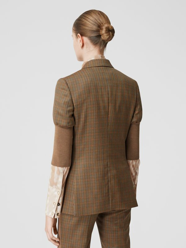 Knitted Sleeve Houndstooth Check Wool Tailored Jacket in Fawn - Women | Burberry Singapore - cell image 2