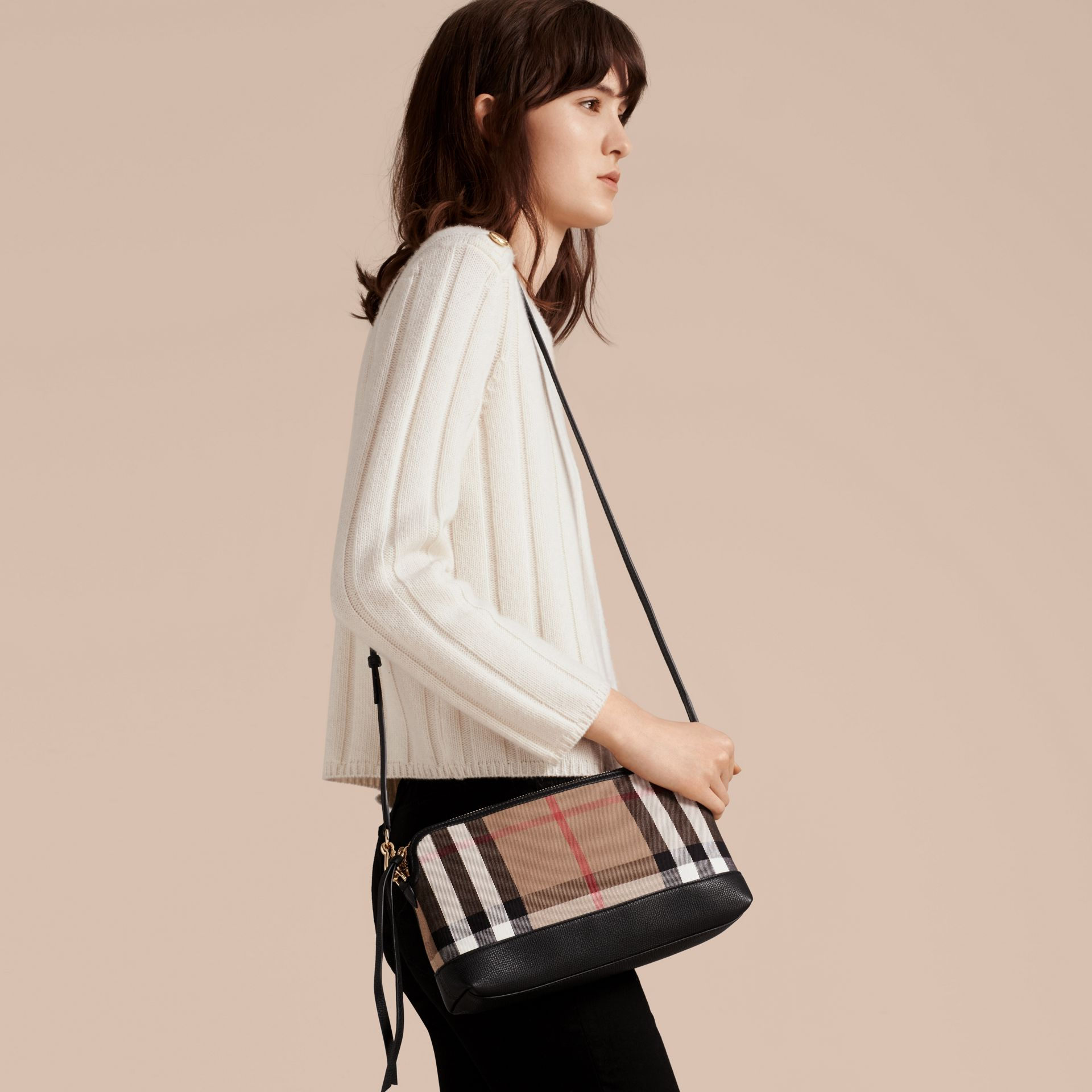 House Check and Leather Clutch Bag in Black - Women | Burberry Canada - gallery image 3