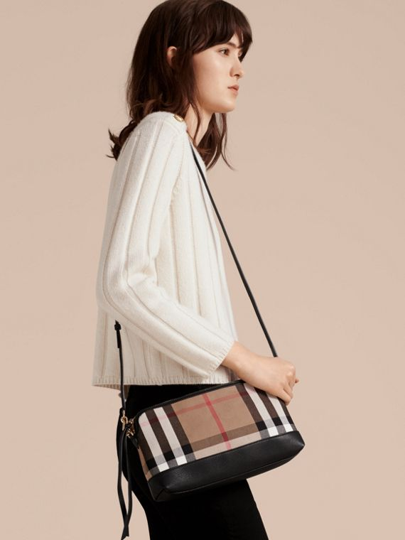 House Check and Leather Clutch Bag in Black - Women | Burberry Canada - cell image 2