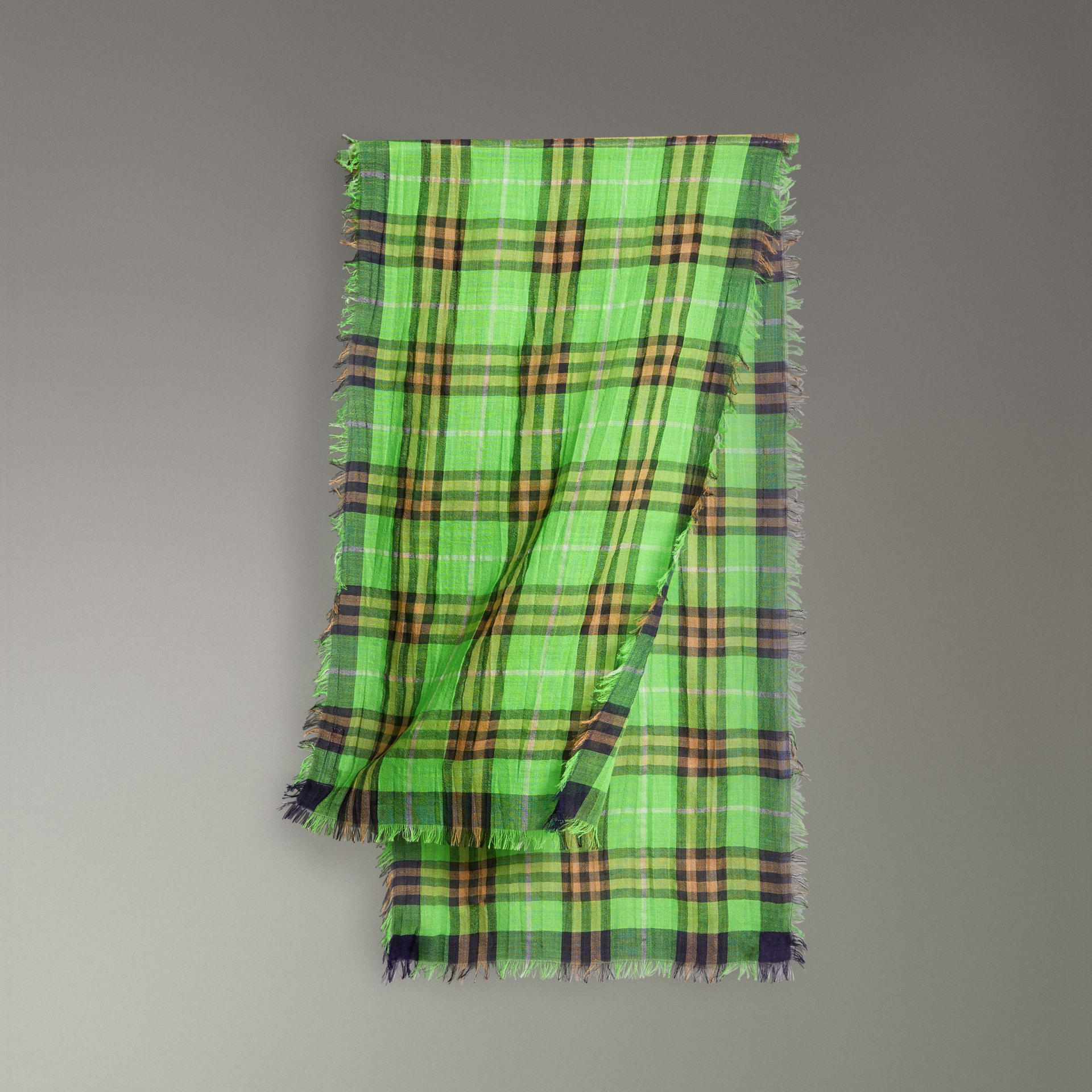 Lightweight Check Wool Silk Scarf in Apple Green | Burberry - gallery image 0
