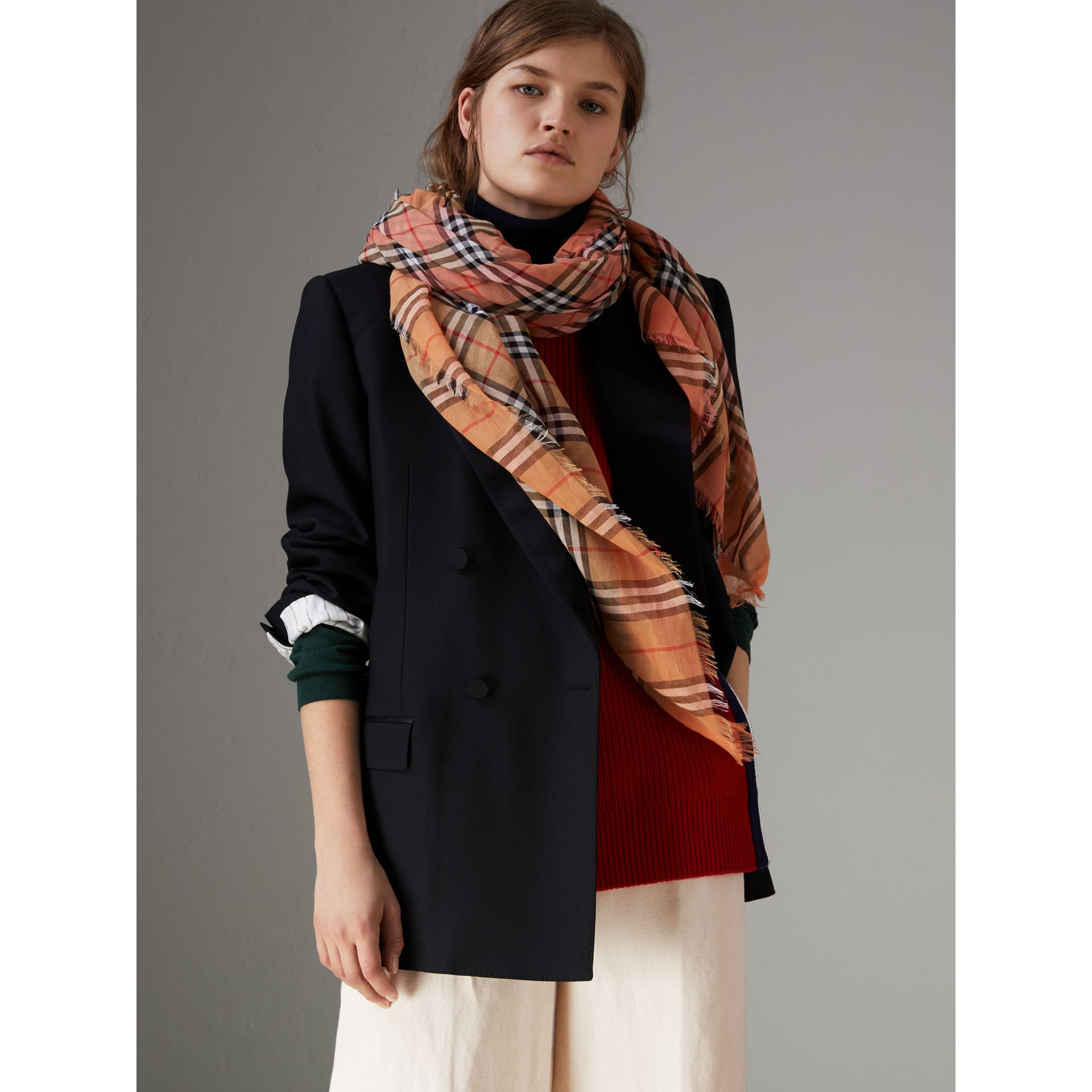 Two-tone Vintage Check Cotton Square Scarf in Coral Rose | Burberry United Kingdom - gallery image 4