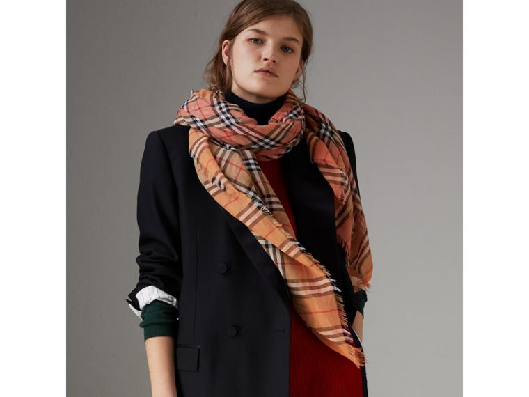 Two-tone Vintage Check Cotton Square Scarf in Coral Rose | Burberry Canada - cell image 4