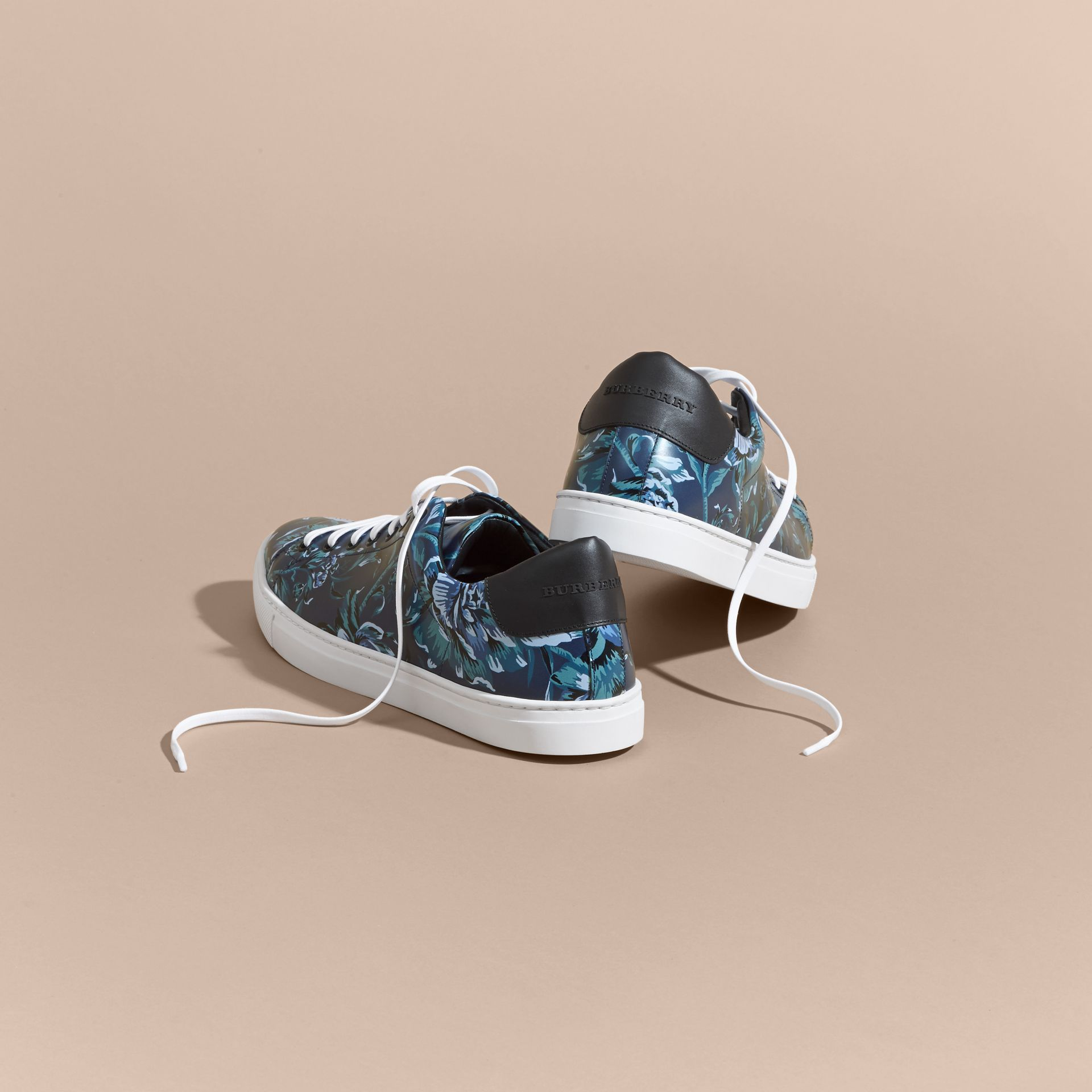 Peony Rose Print Leather Trainers - gallery image 4