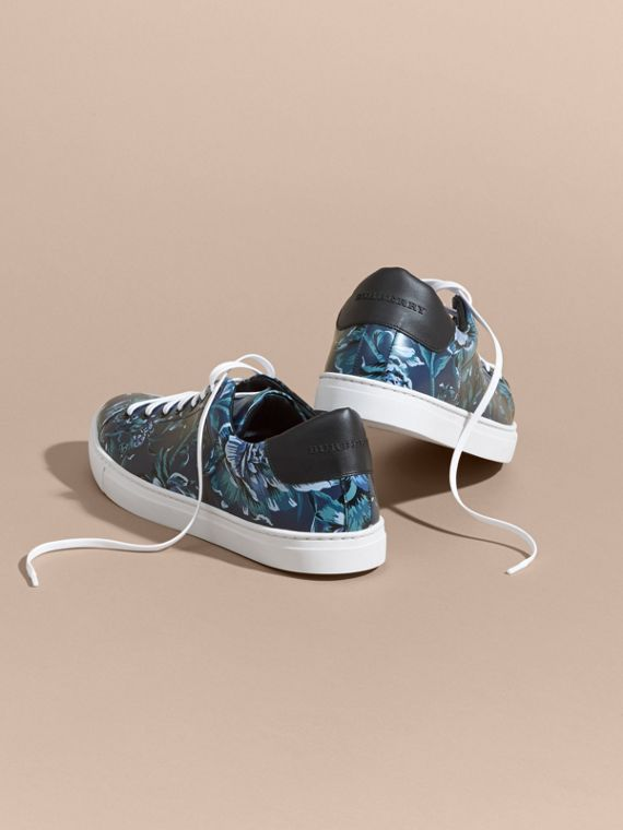 Ink Peony Rose Print Leather Trainers - cell image 3