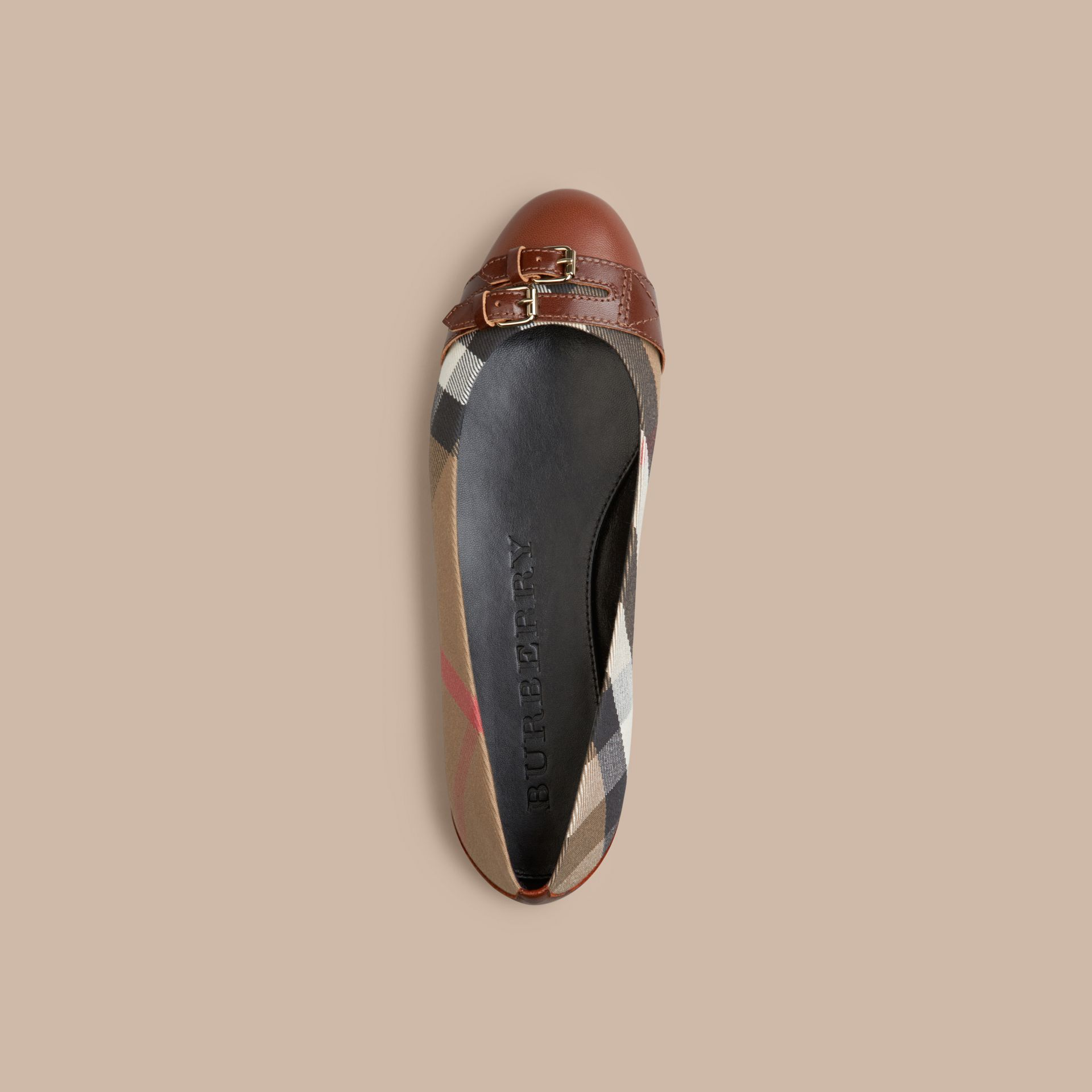 Bridle House Check Ballerinas Dark Tan - gallery image 3