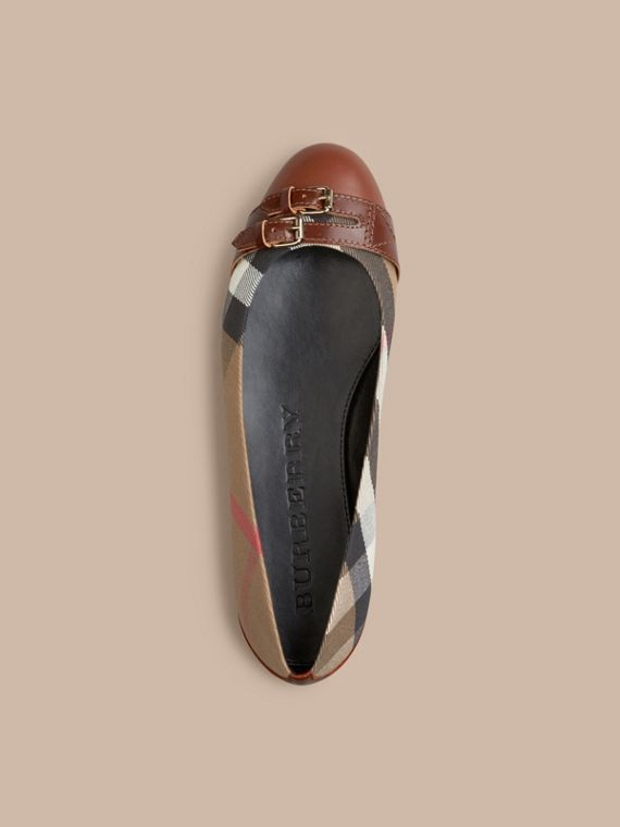 Bridle House Check Ballerinas Dark Tan - cell image 2