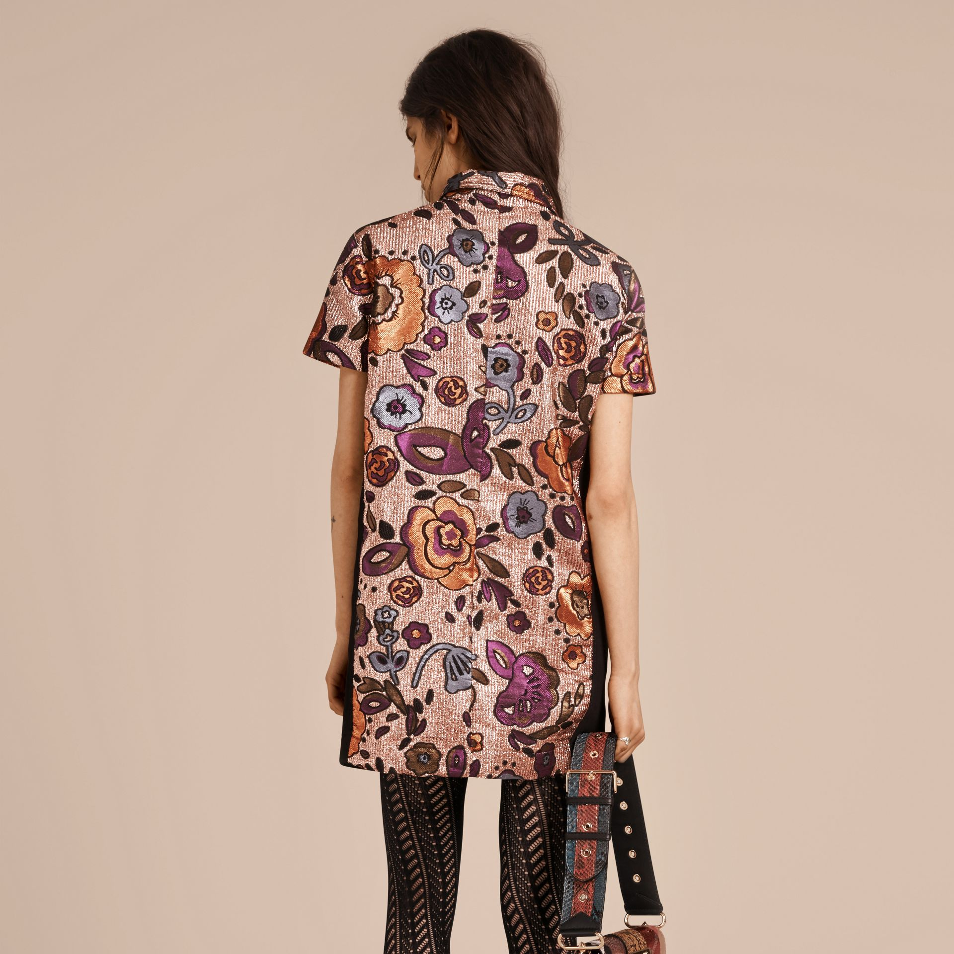 Copper rose Lamé and Floral Jacquard Shirt Dress - gallery image 3