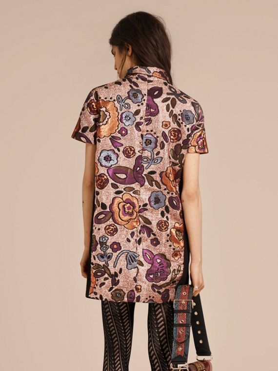 Copper rose Lamé and Floral Jacquard Shirt Dress - cell image 2