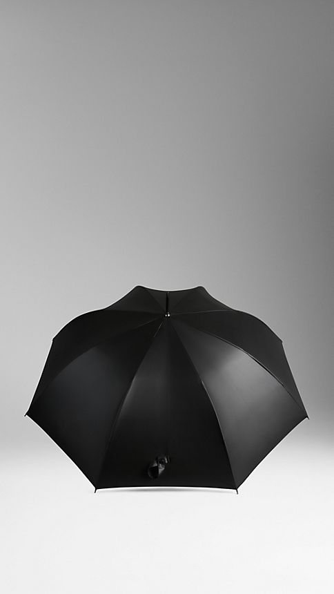Black dark charcoal check Check-Lined Walking Umbrella - Image 2