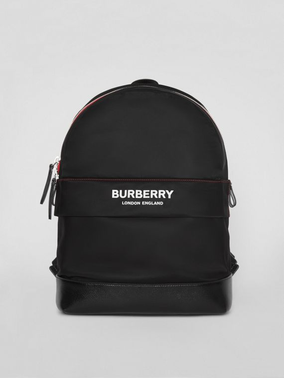 Logo Print Backpack in Black