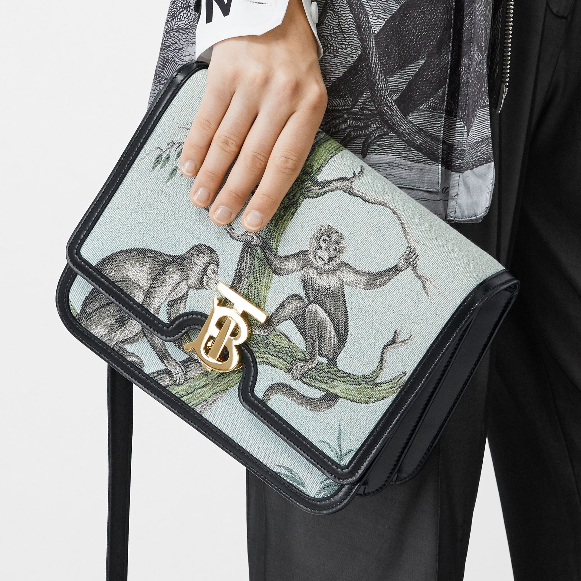 Medium Monkey Jacquard and Leather TB Bag in Black/opal Green - Women | Burberry United States - gallery image 8