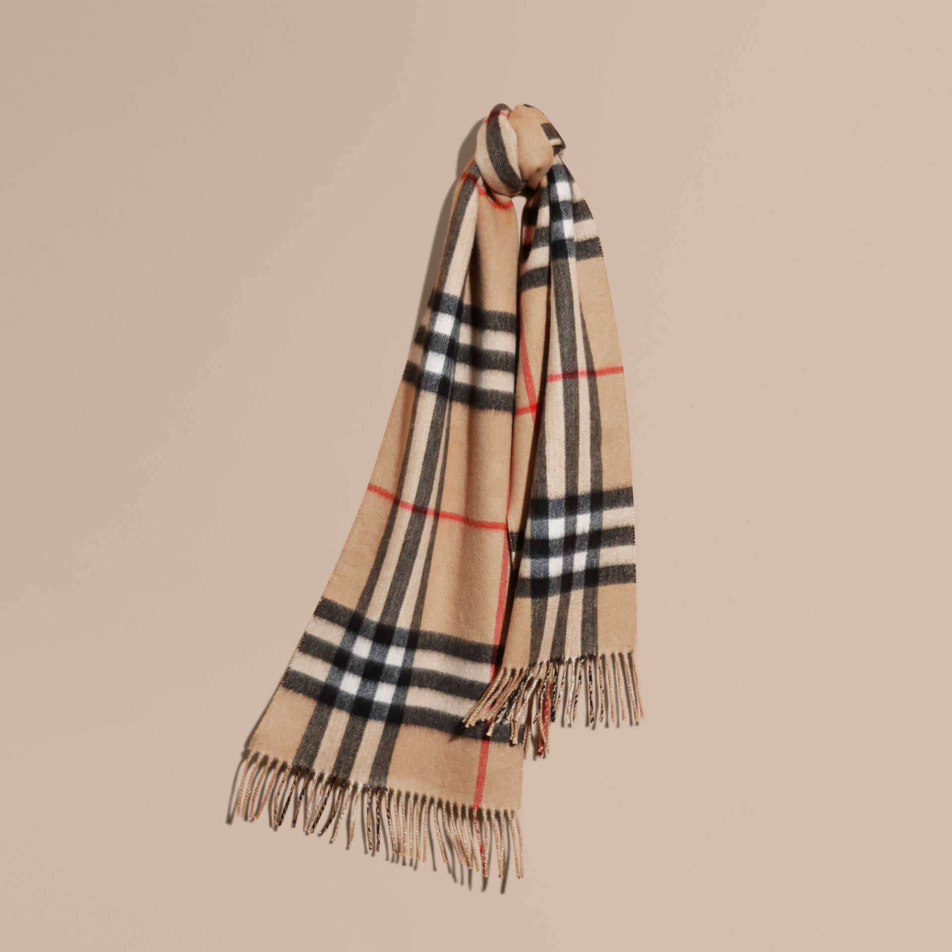 Reversible Metallic Check Cashmere Scarf in Camel | Burberry - gallery image 6