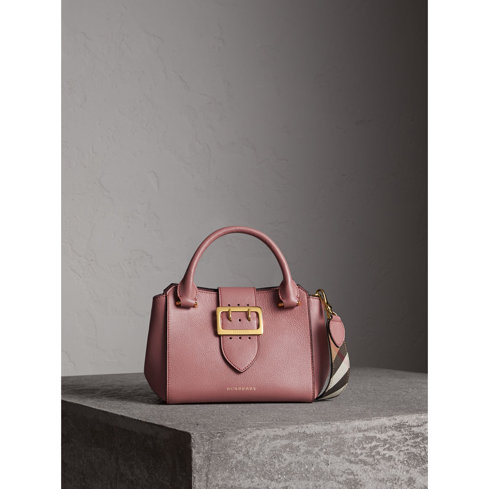 The Small Buckle Tote in Grainy Leather in Dusty Pink - gallery image 1