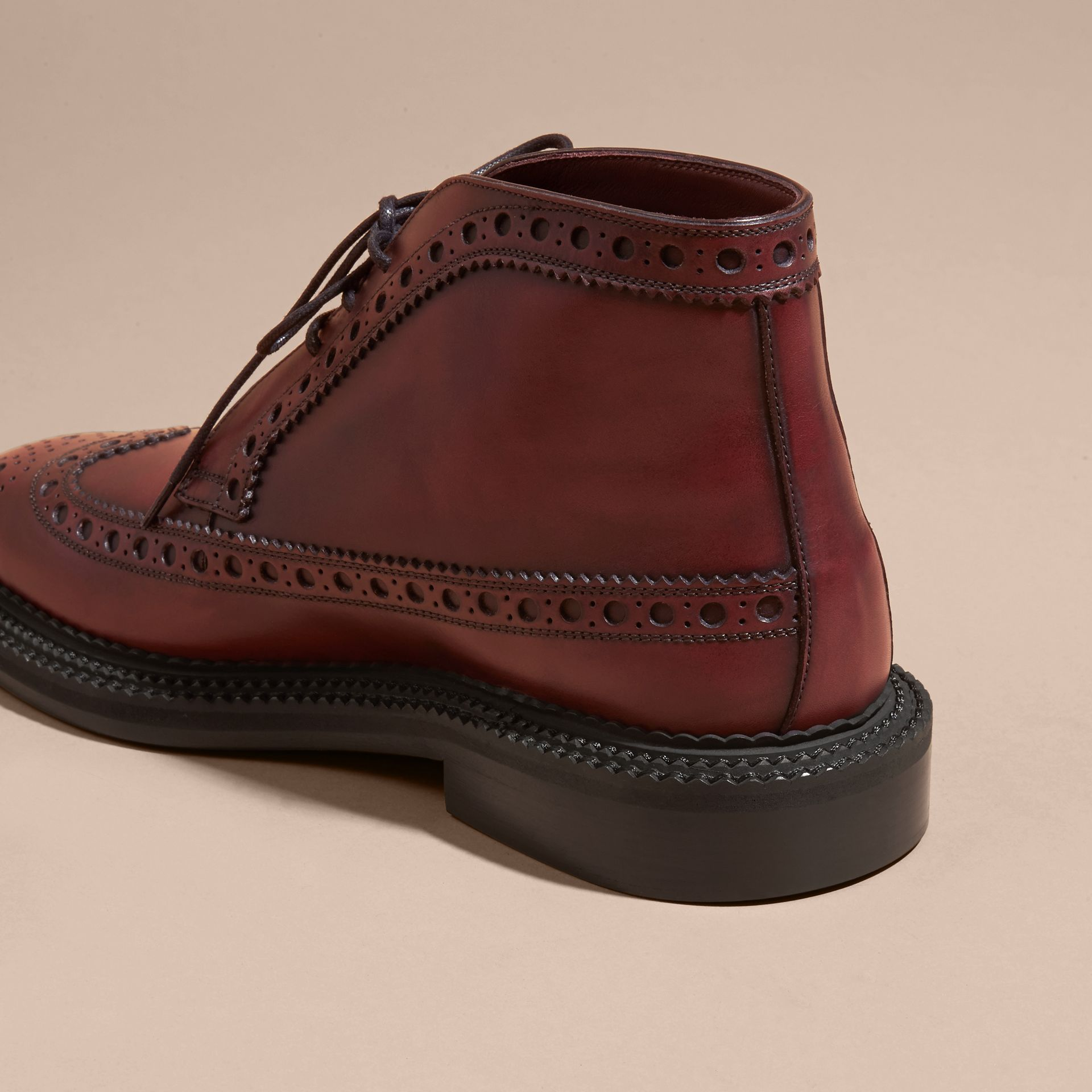 Bordeaux Leather Brogue Boots - gallery image 4