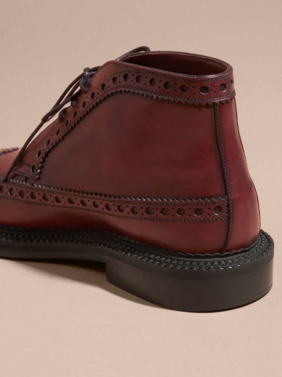 Bordeaux Leather Brogue Boots - cell image 3