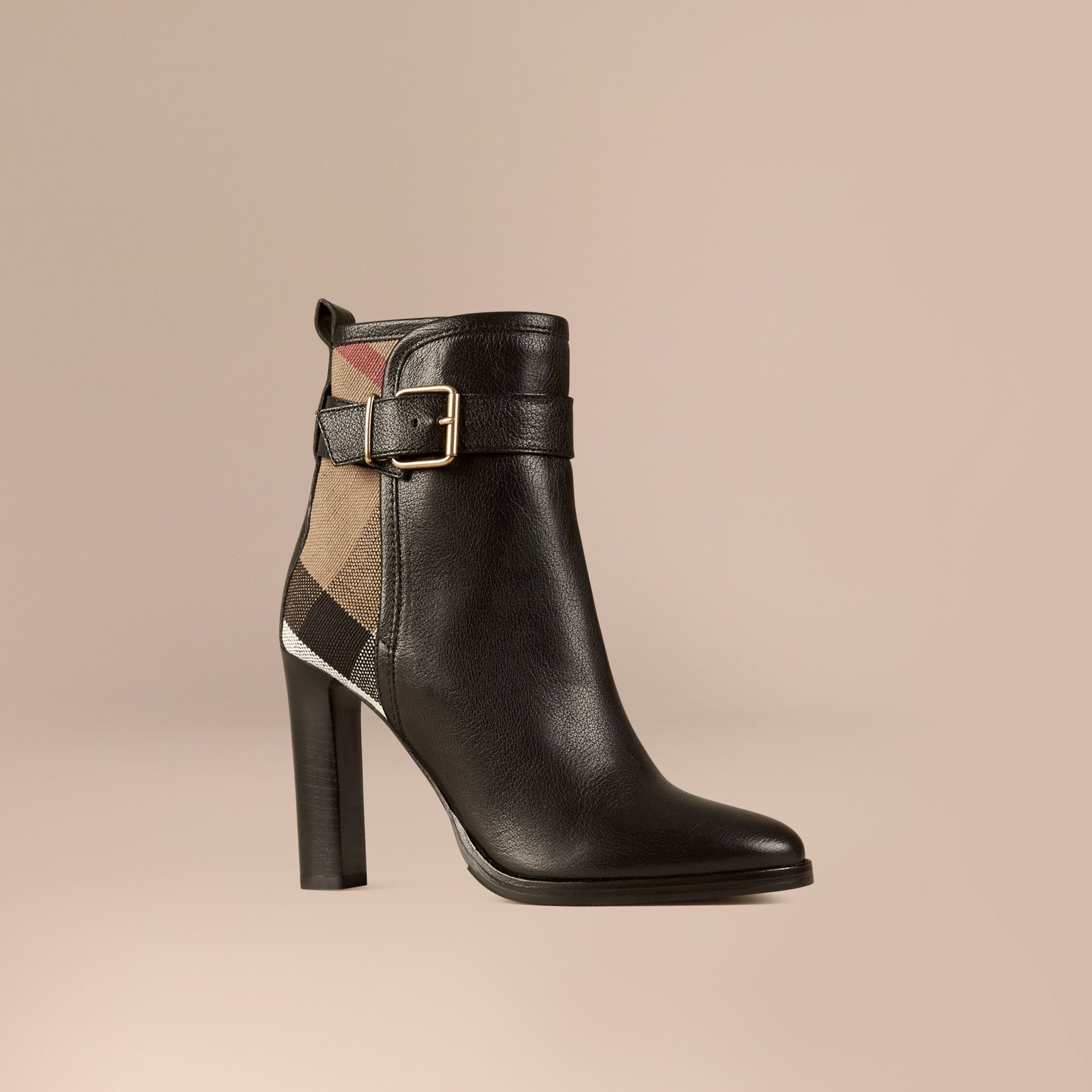 Black Canvas Check and Leather Ankle Boots - gallery image 1