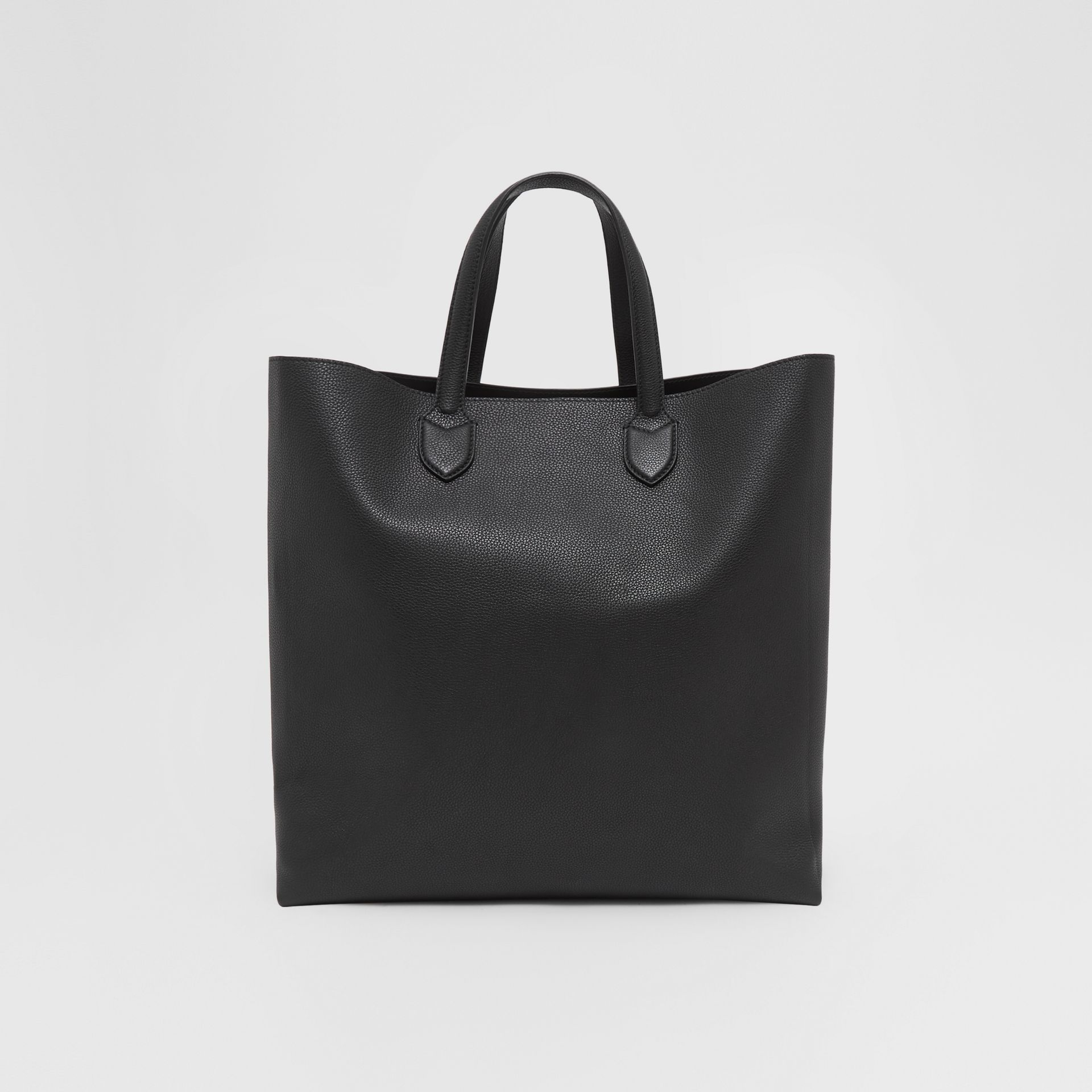 Large Logo Graphic Grainy Leather Tote in Black - Men | Burberry United States - gallery image 9