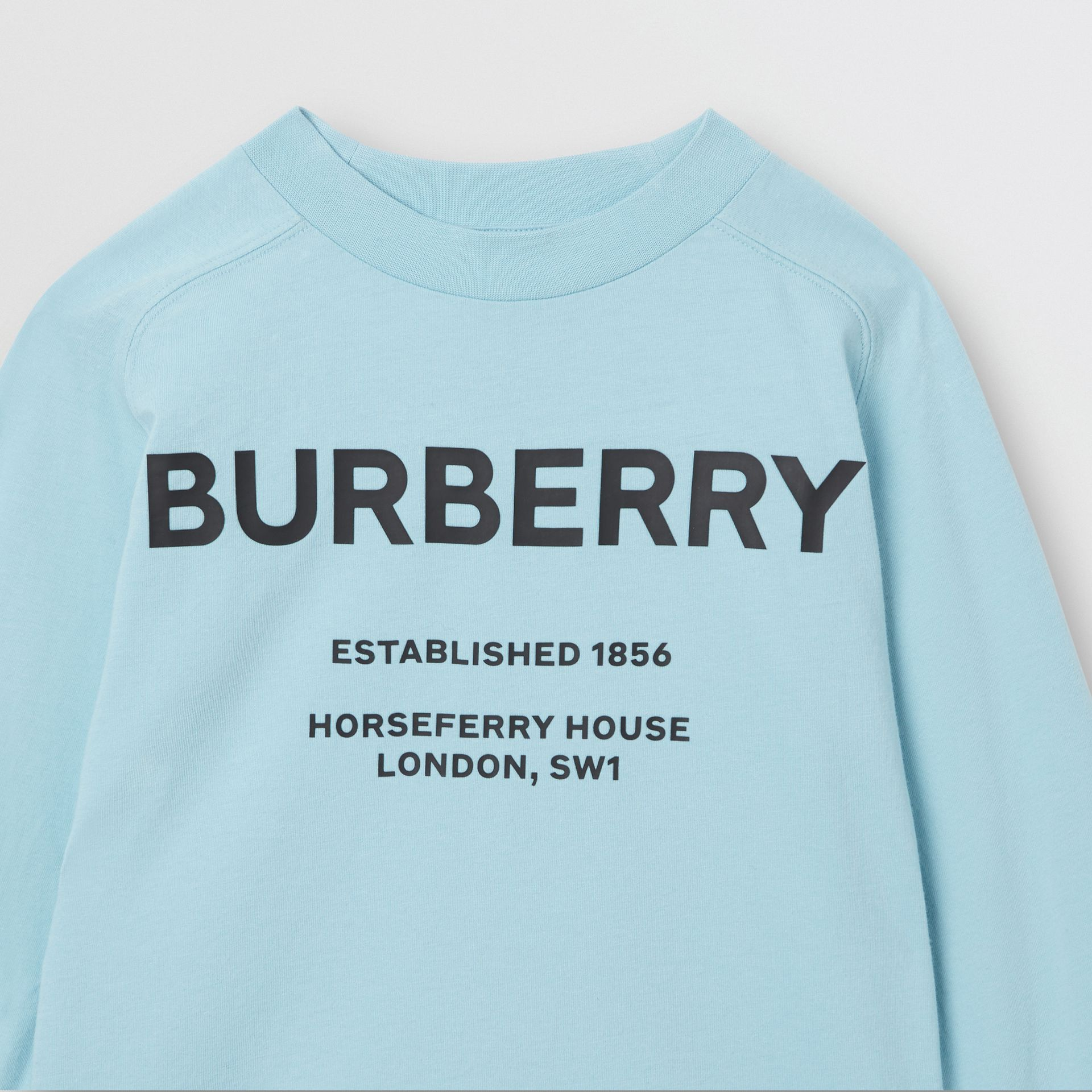 Long-sleeve Horseferry Print Cotton Top in Powder Blue | Burberry - gallery image 5