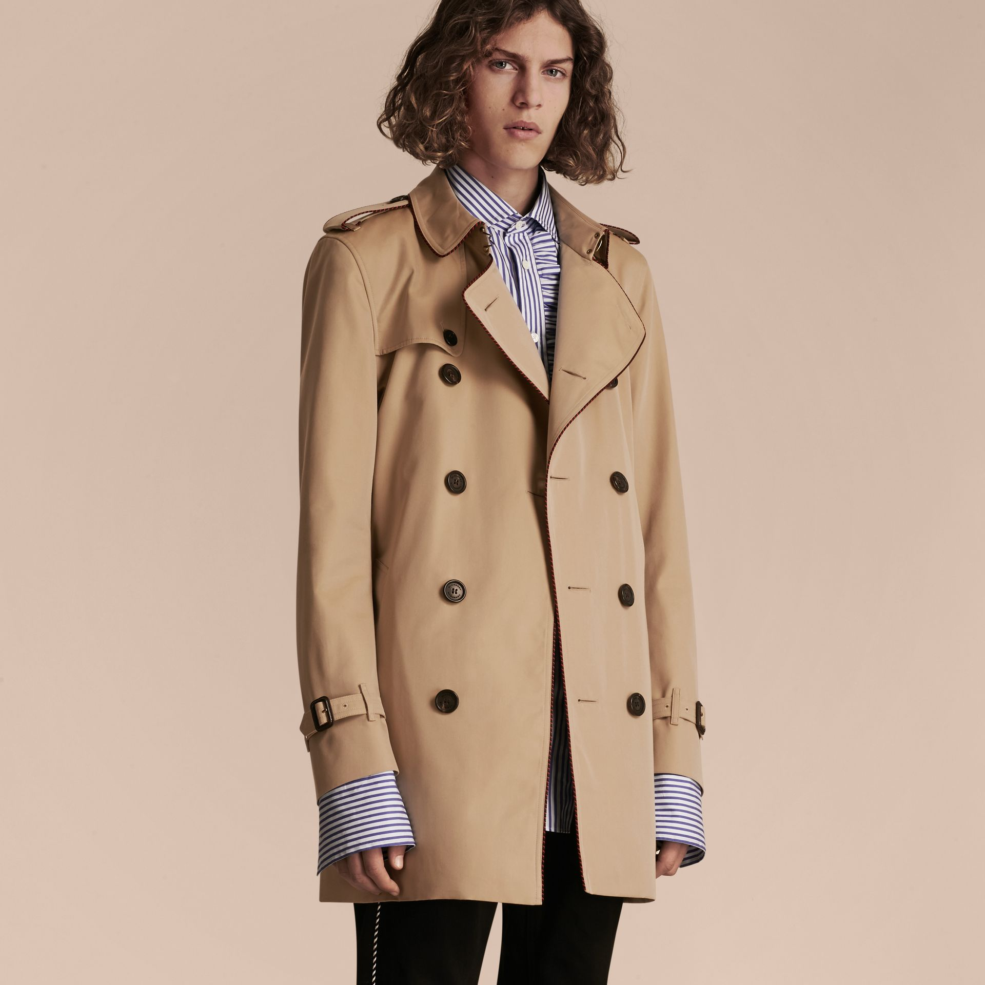 Honey Trench Coat with Regimental Piping Honey - gallery image 6