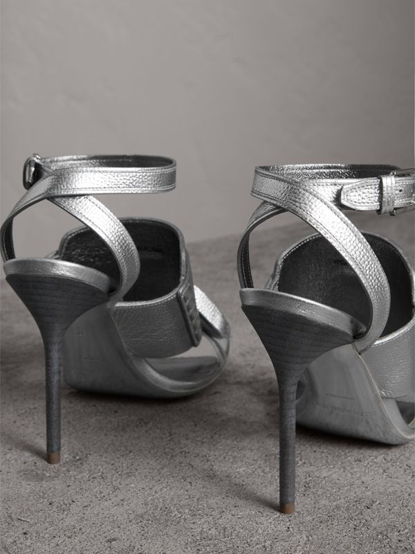 Tasselled Metallic Leather Sandals in Silver - Women | Burberry United Kingdom - cell image 3