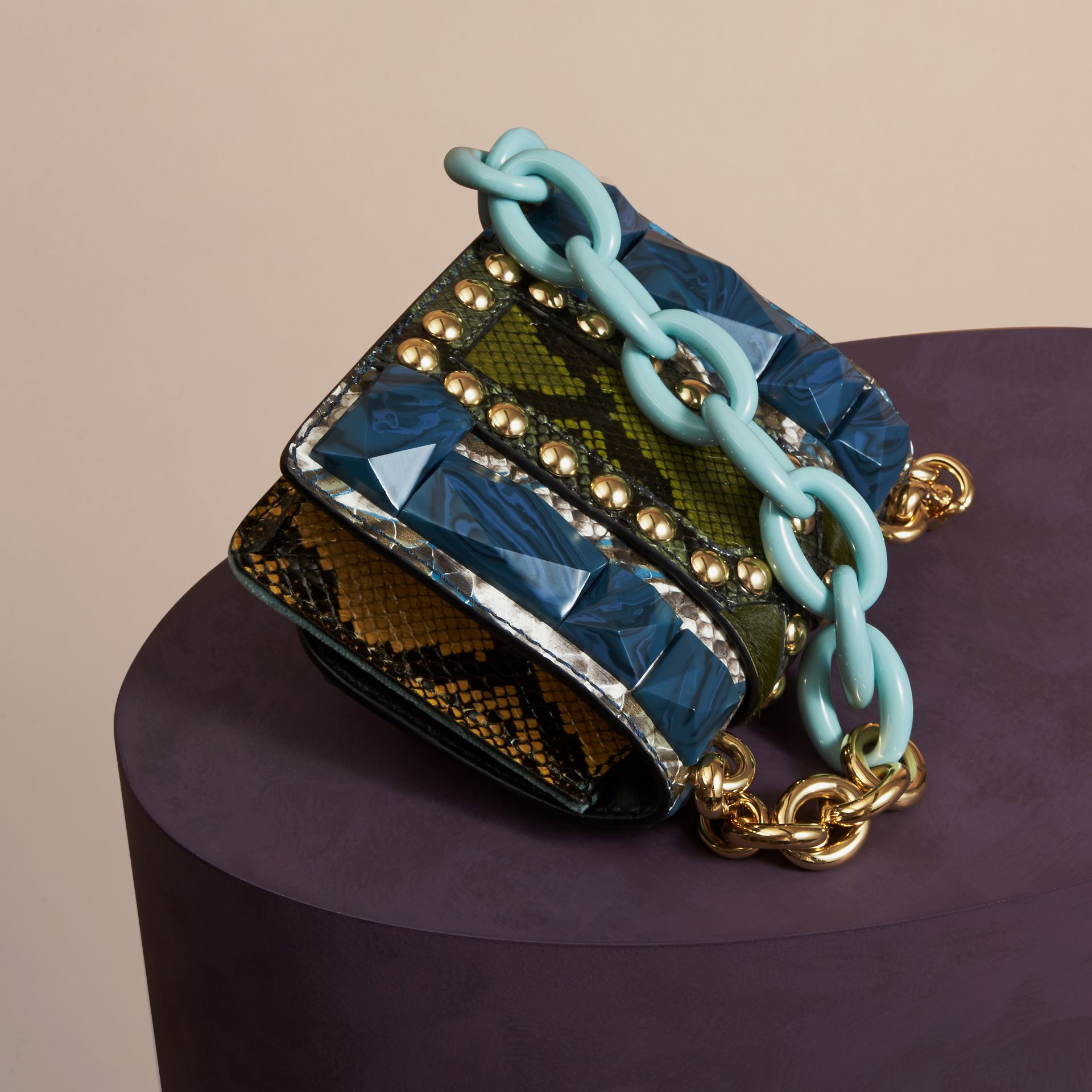 Pale opal The Mini Square Buckle Bag in Velvet and Snakeskin - gallery image 4