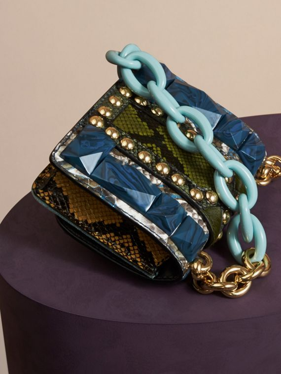 Pale opal The Mini Square Buckle Bag in Velvet and Snakeskin - cell image 3