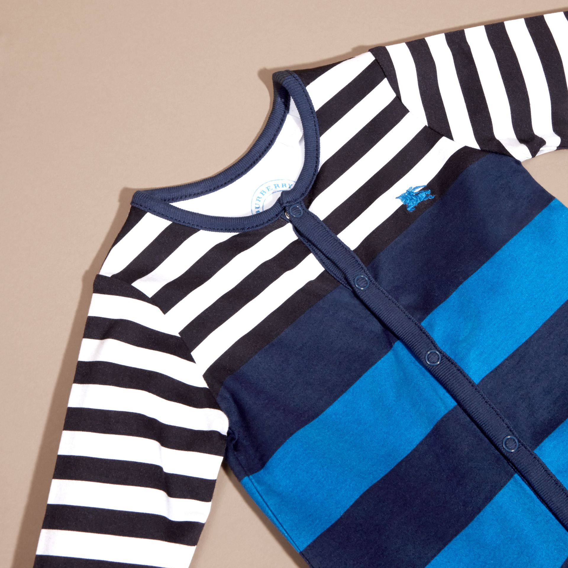 Ink blue Striped Cotton All-in-one - gallery image 2
