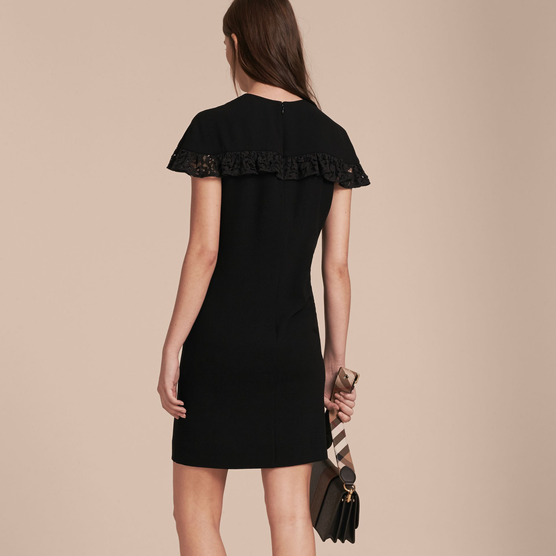 Black Shift Dress with Lace Ruffle - gallery image 3