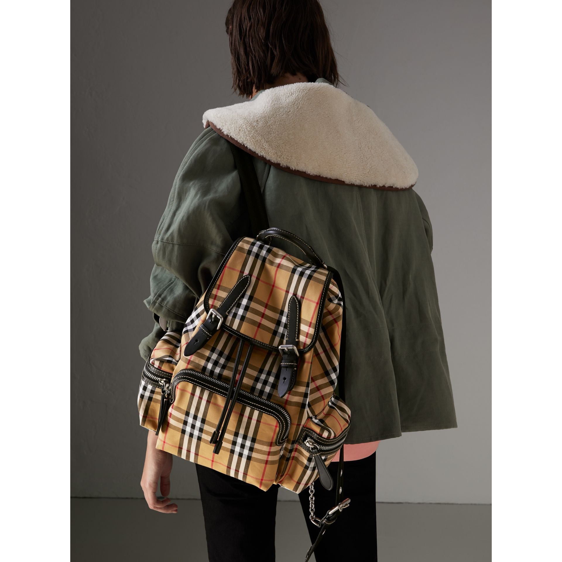 The Medium Rucksack in Vintage Check and Leather in Antique Yellow - Women | Burberry - gallery image 3