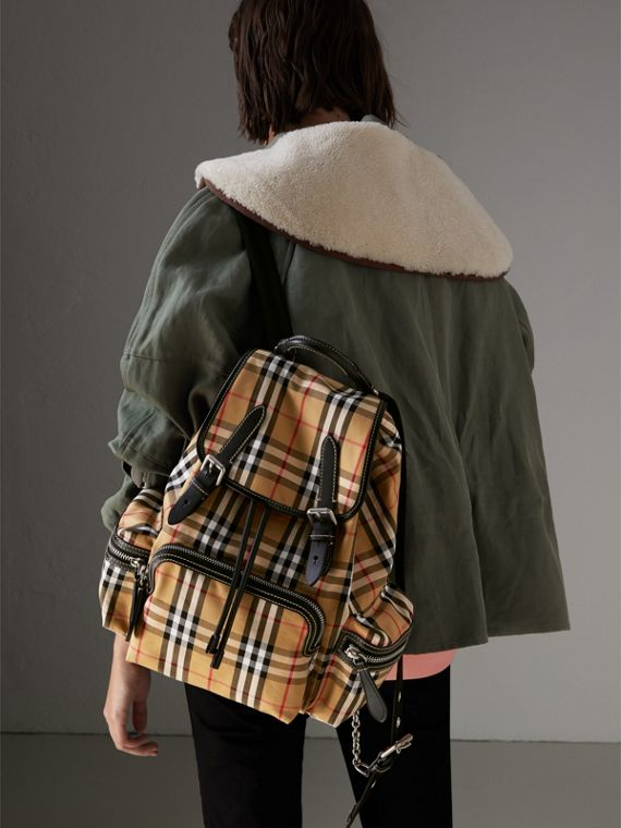 The Medium Rucksack in Vintage Check and Leather in Antique Yellow - Women | Burberry United States - cell image 3