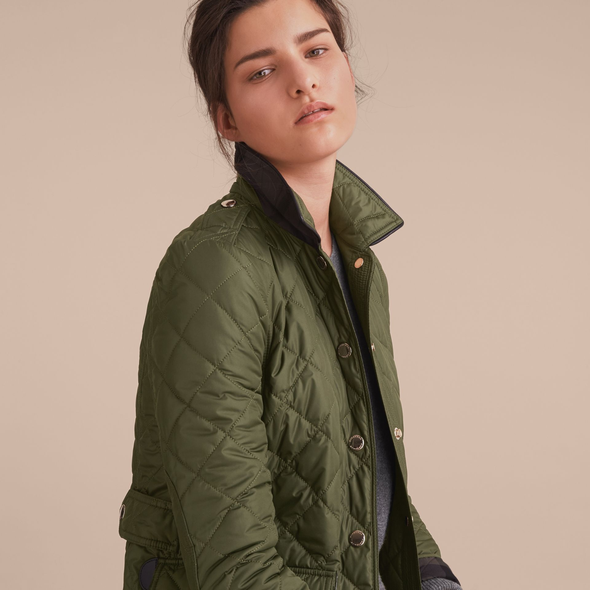 Check Detail Diamond Quilted Jacket Military Green - gallery image 5