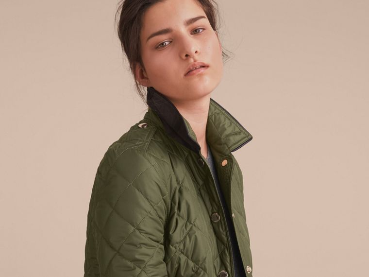 Check Detail Diamond Quilted Jacket Military Green - cell image 4