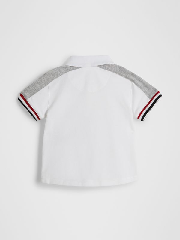 Stripe Detail Cotton Piqué Polo Shirt in White - Children | Burberry - cell image 3