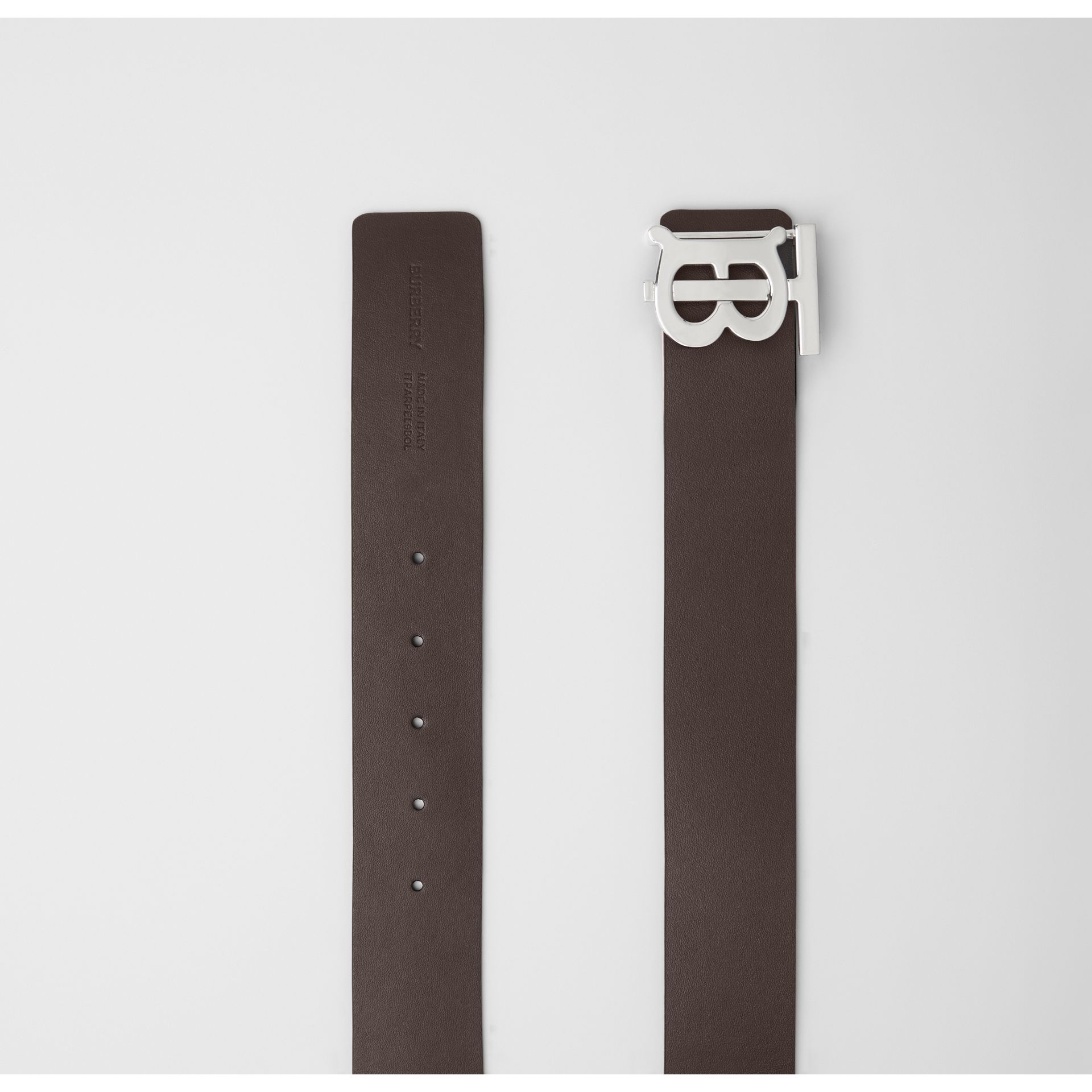 Reversible Monogram Motif Leather Belt in Black/malt Brown - Men | Burberry United States - gallery image 7