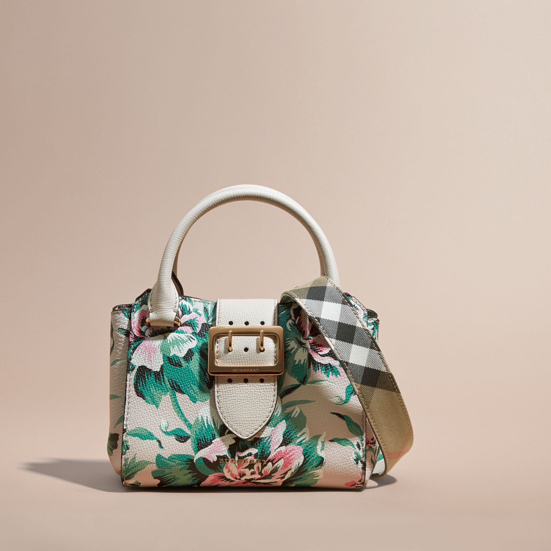 Natural/emerald green The Small Buckle Tote in Peony Rose Print Leather Natural/emerald Green - gallery image 9