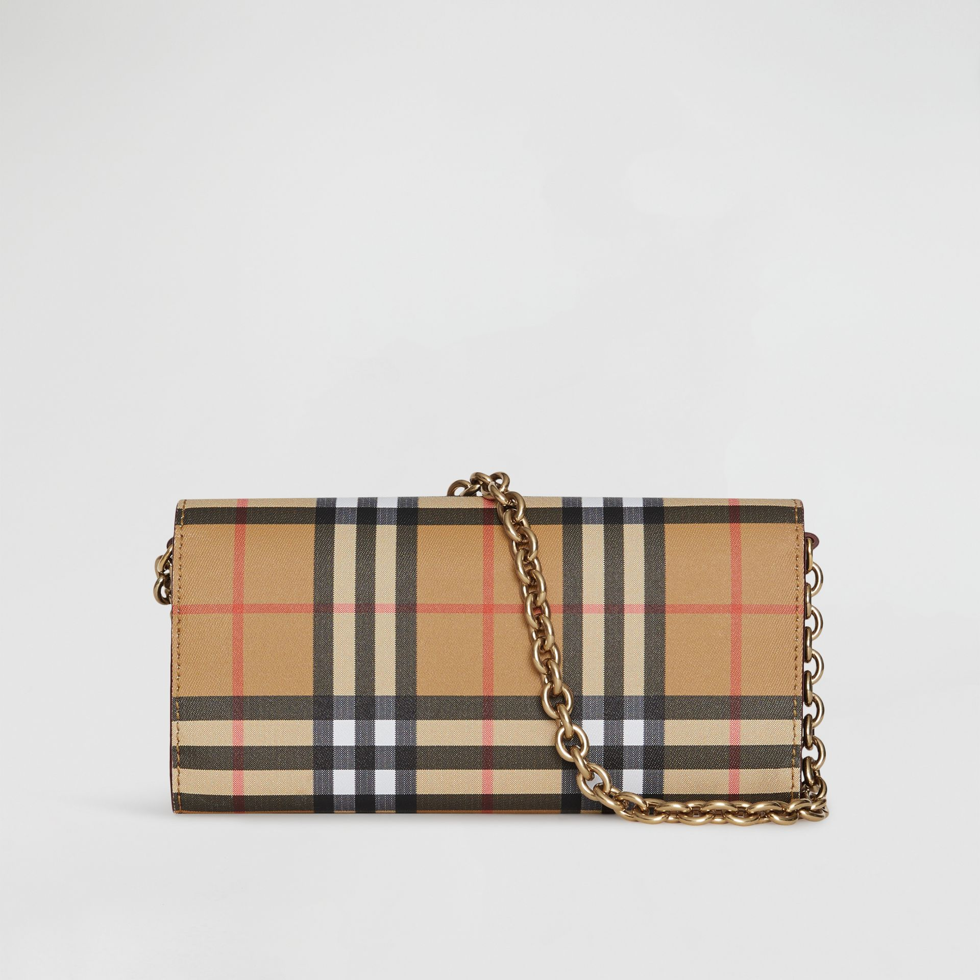 Vintage Check and Leather Wallet with Detachable Strap in Crimson - Women | Burberry - gallery image 5
