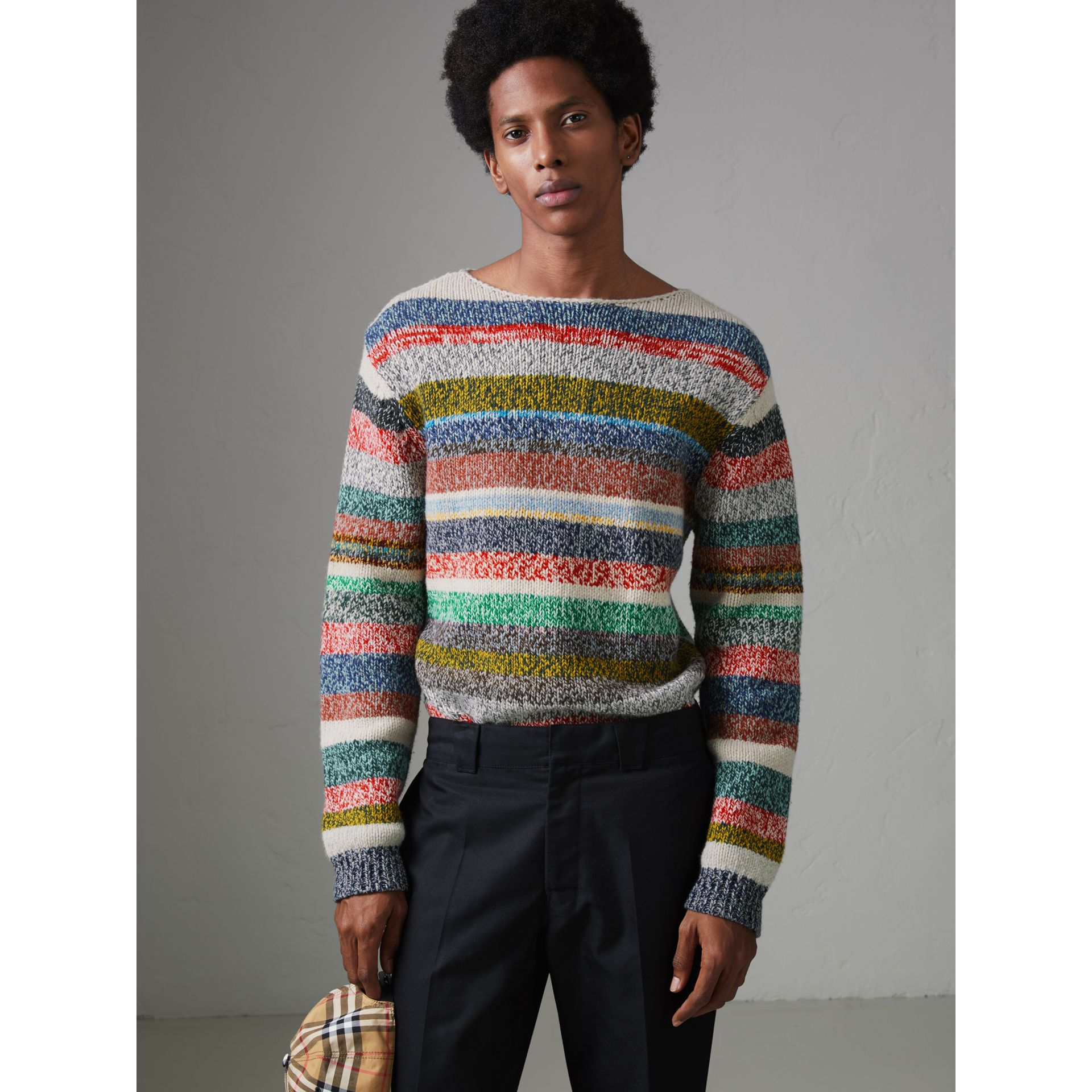 Striped Merino Wool Mouliné Sweater in Multicolour - Men | Burberry - gallery image 5