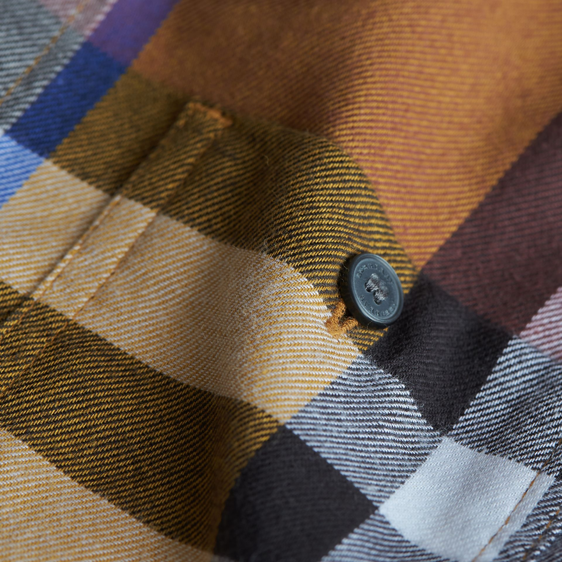 Pocket Detail Check Flannel Shirt in Ochre Yellow - Boy | Burberry Singapore - gallery image 2