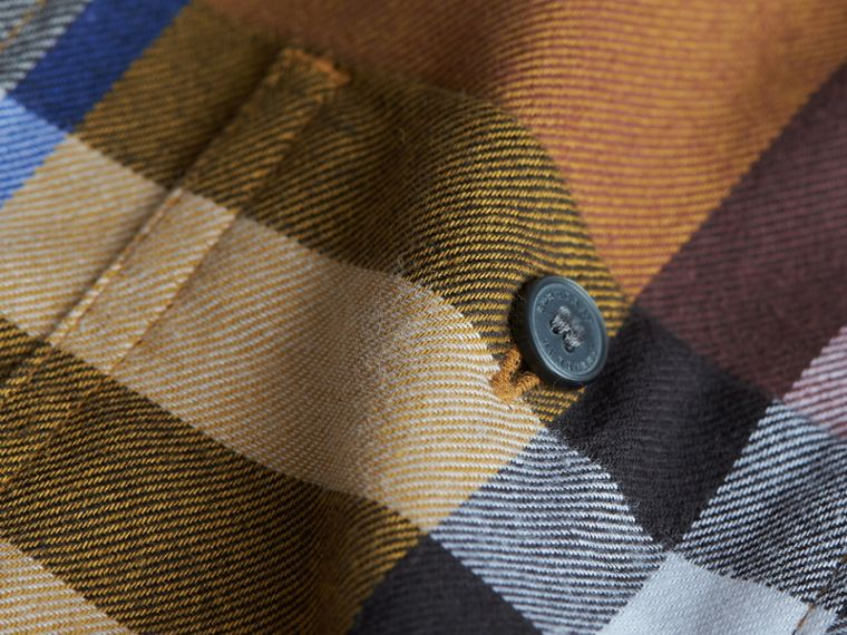 Pocket Detail Check Flannel Shirt in Ochre Yellow - Boy | Burberry - cell image 1