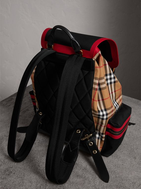 The Large Rucksack in Vintage Check and Leather in Antique Yellow | Burberry Canada - cell image 3