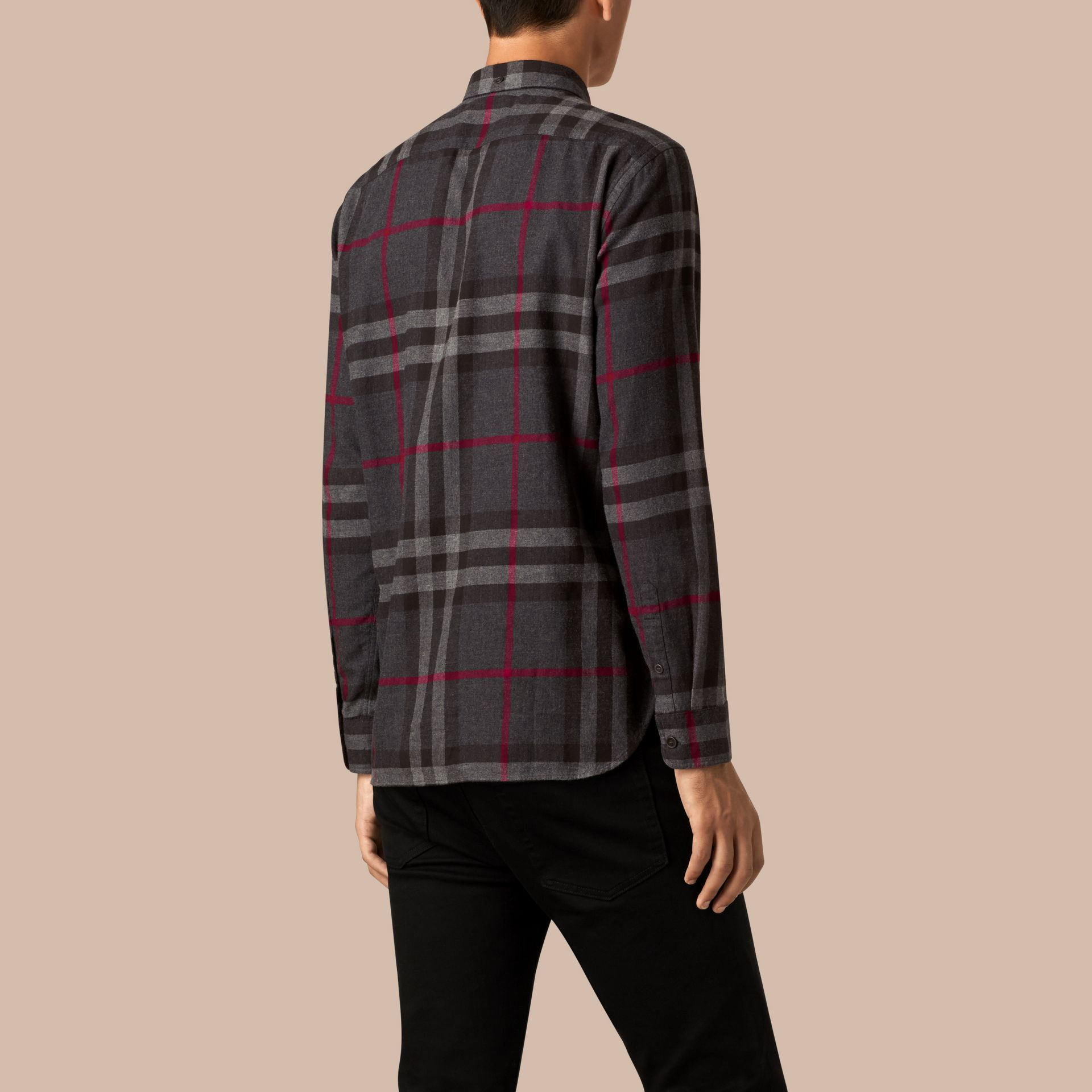 Charcoal Check Cotton Flannel Shirt Charcoal - gallery image 3