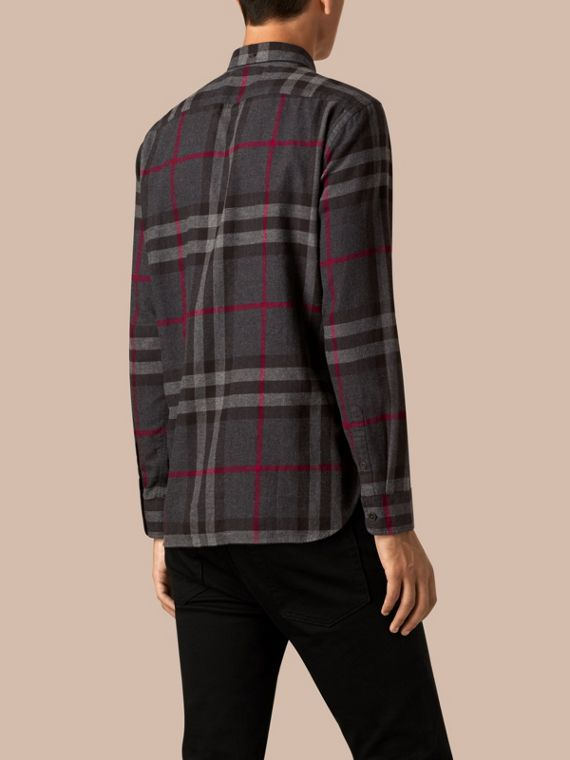 Charcoal Check Cotton Flannel Shirt Charcoal - cell image 2