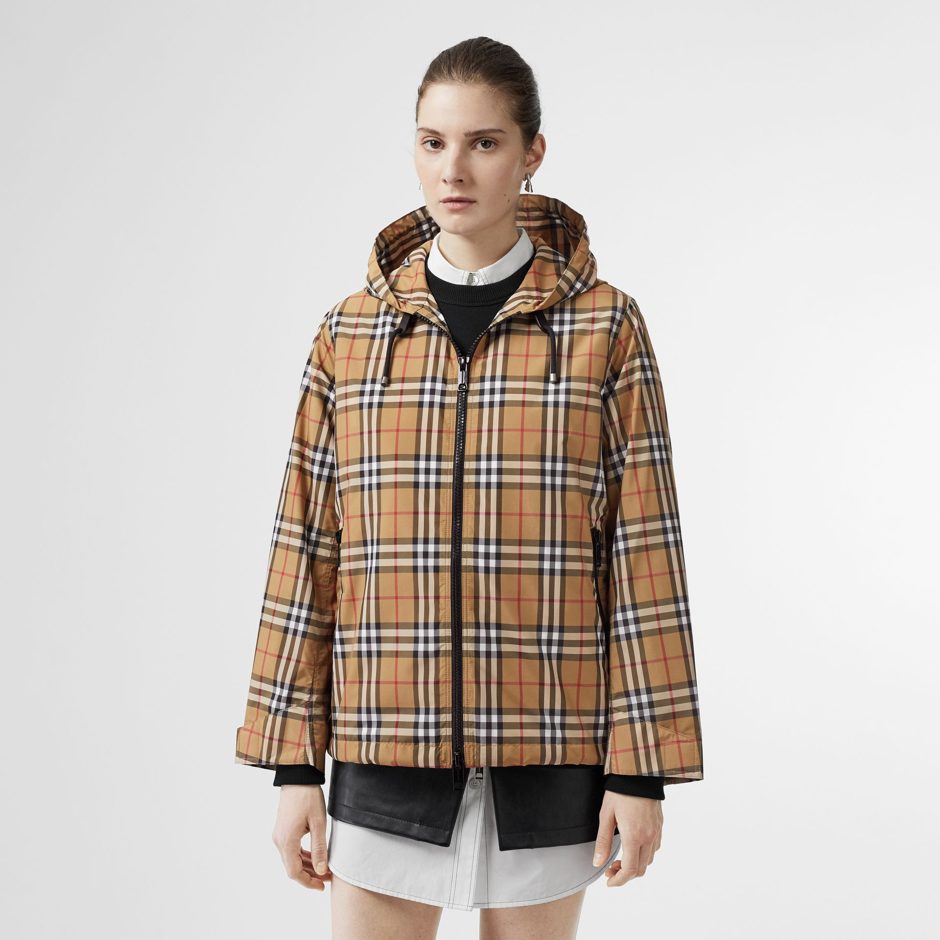 Vintage Check Lightweight Hooded Jacket in Antique Yellow - Women | Burberry - gallery image 6