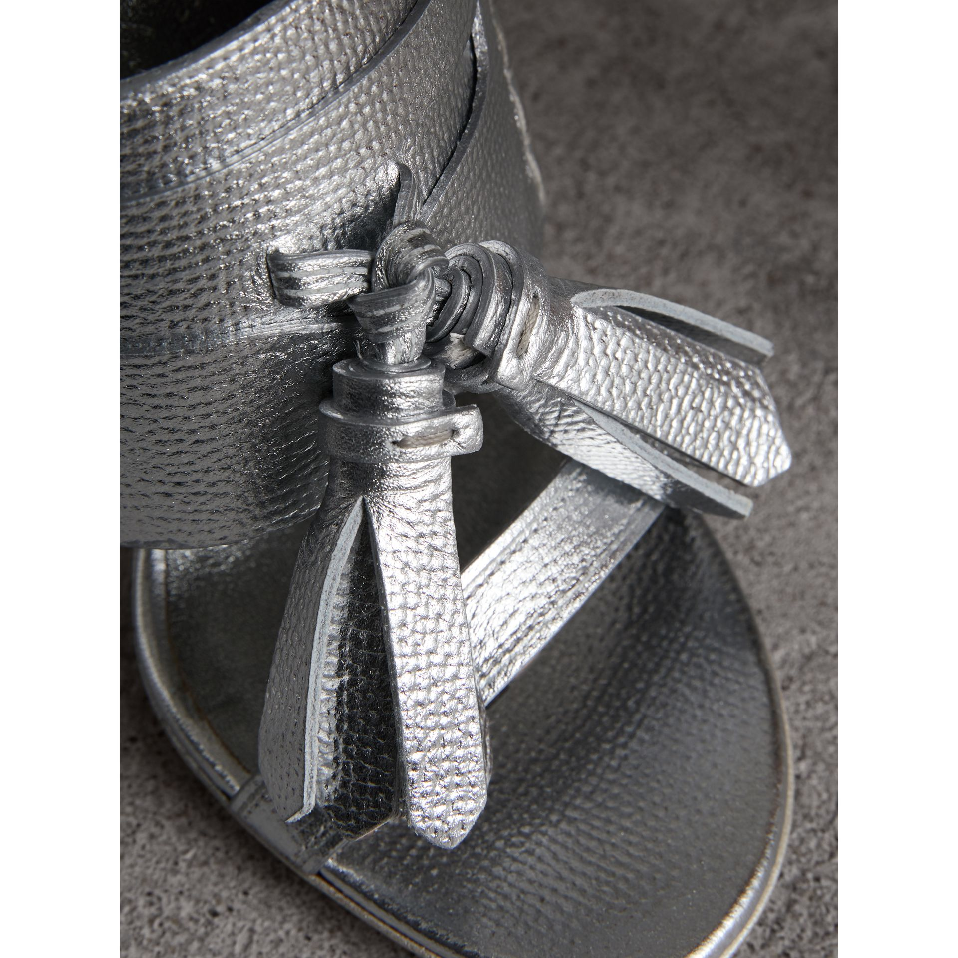 Tasselled Metallic Leather Sandals in Silver - Women | Burberry United States - gallery image 1