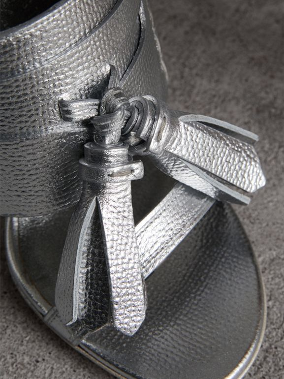 Tasselled Metallic Leather Sandals in Silver - Women | Burberry United Kingdom - cell image 1
