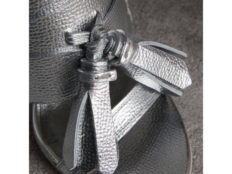 Tasselled Metallic Leather Sandals in Silver - Women | Burberry United States - cell image 1